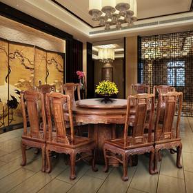 【原来生活】中式荣华富贵大圆餐桌十件套 非洲花梨木 精美雕花重磅实木打造配转盘餐桌