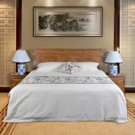 中式实木富贵大床 非洲花梨木 典雅精致雕花 配床头柜 实木床三件套(不含软装)