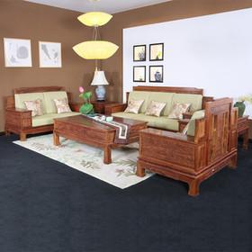 【原来生活】中式新宝座沙发六件套(必配坐垫) 客厅实木沙发 非洲花梨木 实用储物