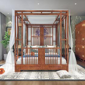 新中式云回系列架子床 非洲花梨木 精致云纹雕花 通透镂空设计 新款实木床1.8m