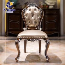 欧式实木复古餐椅组合 雕花真皮椅高档法式