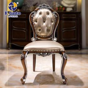 金天拓家具 欧式高档餐椅实木椅子皮艺椅休闲椅法式真皮餐椅