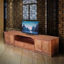 中式四季花电视柜 客厅实木电视柜 非洲花梨木 稳固柜脚