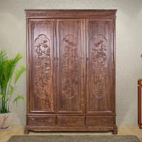中式实木三门衣柜 非洲花梨木 典雅精致雕
