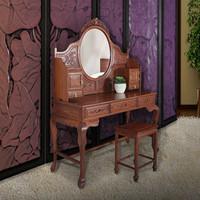 中式雕花梳妆台 非洲花梨木 典雅弧线型设