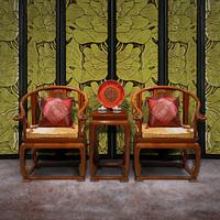【原来生活】中式实木皇宫圈椅三件套 非洲