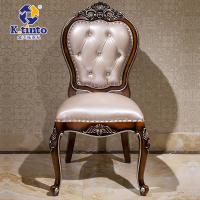 金天拓家具 高档欧式餐椅橡木椅子 法式皮