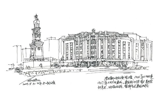上海建筑钢笔手绘