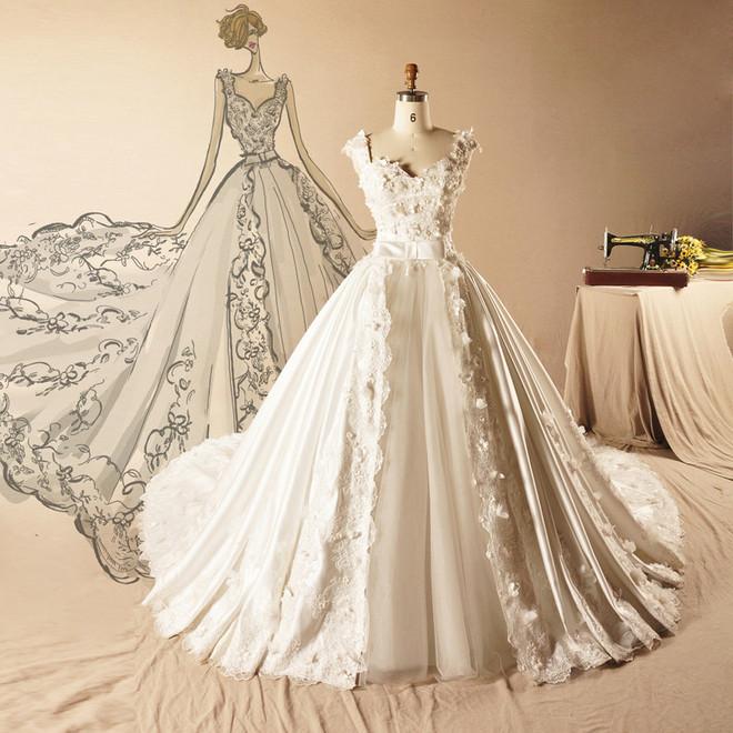 中式婚纱手绘设计